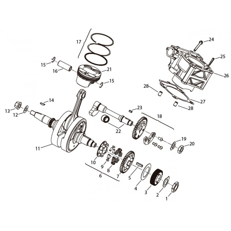 CRANK GEAR ASSEMBLY Benelli BN 251 ABS