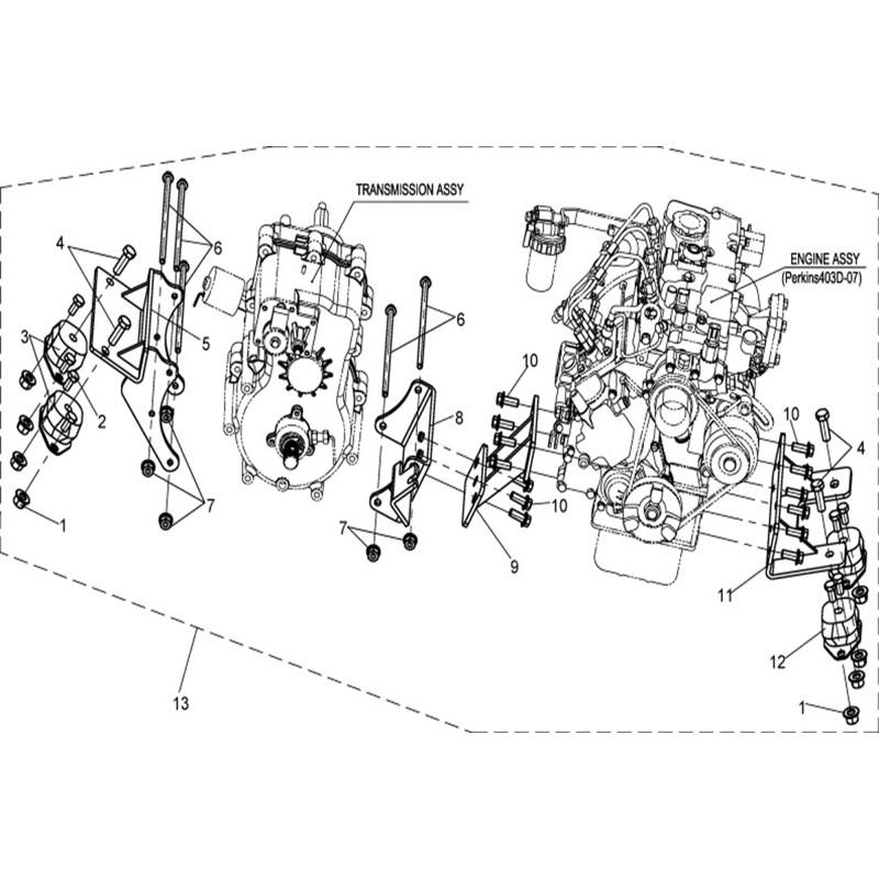 Engine, Transmission Mounting Parts Exploded View Linhai UTV LH 800 DIESEL